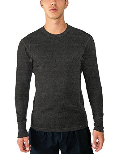 Midweight Wolle Lange Unterwäsche (WoolX Explorer Herren Unterhemd aus Merinowolle, mittelschwer, 100% Merinowolle, Herren, Explorer Ls, Charcoal Heather, X-Large)