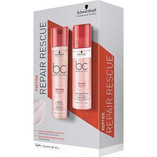 Schwarzkopf Professional Bonacure Peptide Repair Rescue DuoSet, Micellar Shampoo - 250 ml und Spray Conditioner - 200 ml, 450 ml -