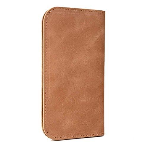 Portefeuille en cuir véritable pour Samsung Galaxy Alpha Cover Marron Natur - hautfarben