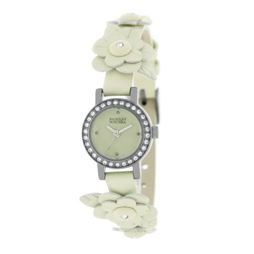 badgley-mischka-womens-ba1137crcr-swarovski-crystals-gun-metal-flower-applique-cream-leather-strap-w