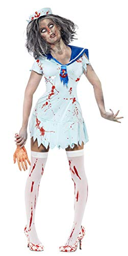 Smiffys, Damen Zombie-Matrose Kostüm, Kleid und Mütze, Größe: -