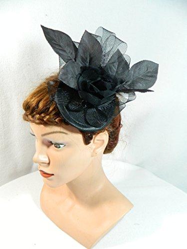 Fascinator schwarz gothic Rosenblätter Bulesque Pinup Hütchen Damenhut Vintage Kopfschmuck Headpiece