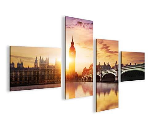 islandburner Bild Bilder auf Leinwand London V5 Big Ben Tower Bridge 4L XXL Poster Leinwandbild Wandbild Dekoartikel Wohnzimmer Marke