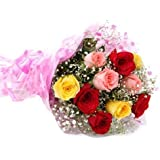 Floral Fantasy Fresh Flowers Bouquet of 15 Mix Roses Bunch