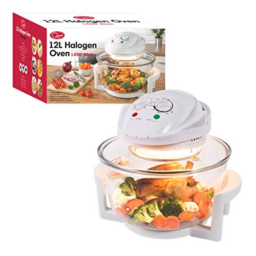 Quest 43890 Halogen Oven Low Fat Fryer Glass Housing,12L, 1400 Watt, White, 1300 W