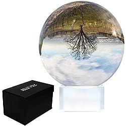 BELLE VOUS Boule de Cristal 80mm - Boule pour la Photographie avec Support et Boîte - Boule en Cristal K9 pour la Méditation, la Guérison et la Divination - Boule de Verre pour la Décoration