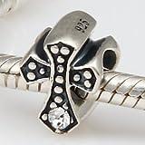 Crystal Cross - Clear Crystal - Sterling Silver Charm Bead - fits Pandora, Chamilia etc style Bracelets - SpangleBead