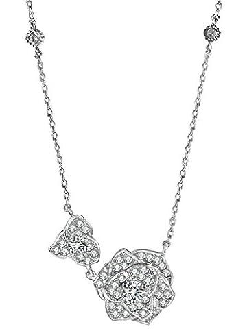 KnSam Damen Platin Platte Für Halskette Rose Blatt Rolo Weiß Crystal Zirkonia [Neuheit Halskette]