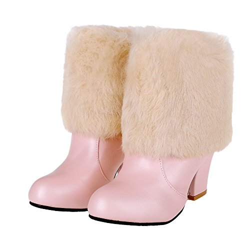 AllhqFashion Damen Rund Zehe Hoher Absatz Blend-Materialien Niedrig-Spitze Rein Stiefel Pink