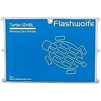 Caso della scheda di memoria Flashwoife Turtle SD4BL per 4 x memoria SD memory card in formato carta di credito - trasparente e blu