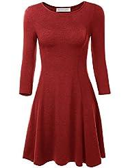 BAISHENGGT Damen Mini Skaterkleid Rundhals 3/4-Arm Fattern Stretch Basic Kleider