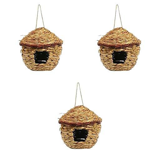 PanDaDa 3 Pièces Nid d'oiseaux en Paille Cage Suspendu Tissée à la Main Bird Nest pour Perroquet Canari Cockatiel Petit Animal Domestique - Diamètre: 11CM