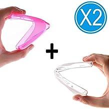 WoowCase - PACK 2 | Funda Gel Flexible para [ LG X150 Bello 2 ] [ Rosa + Transparente Mate ] Carcasa Case Silicona TPU Suave