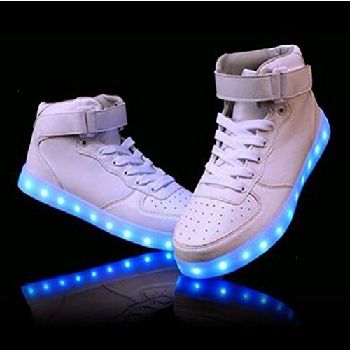 High present Farbe Lackleder Leuchtend kleines Für Led Sneaker 7 1 Weiß Unisex erwachsene Top Handtuch Sportschuhe Aufladen junglest® Sport Usb Schuhe Turnschuhe wAxqfrAY