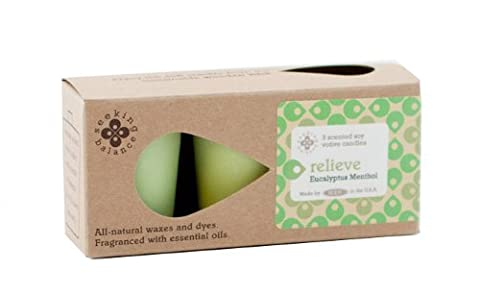 Root Candles Seeking Balance Votive Eucalyptus Menthol Relieve Candle, Wax, Light Green, Pack of 3