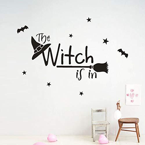 Wandaufkleber Happy Halloween Hexe Bat Windowesta Decoracion FüR Home Decal Deco DIY Dekorationen FüR Home Witch Black Letter Wandaufkleber