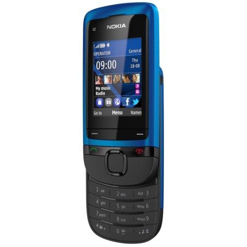 Nokia C2-05 Slider-Handy (5,1 cm (2 Zoll) Display, VGA-Kamera) blau Slider-mp3-video-player