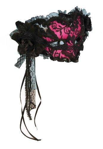 Pink Lace Venetian Mardi Gras Half Mask Costume Adult Standard