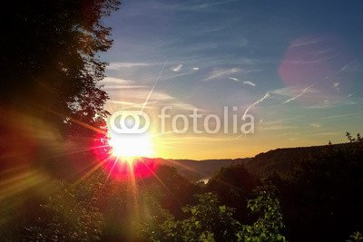 "Alu-Dibond-Bild 90 x 60 cm: ""Sonnenaufgang im Flusstal"", Bild auf Alu-Dibond"