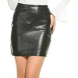 Zeagoo Falda Apretada de Piel Cintura Alta Bodycon Moda para Mujeres
