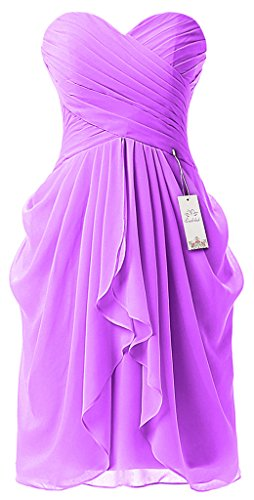 Eudolah robe courte de soiree en crepe decollete en coeur femme Violet Stain-U