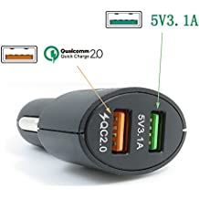 Xingdongchi - Adaptador cargador para coche, tecnología Quick Charge 2, 36 W, 3 puertos USB, admite QC 2.020V/1A 12V/1.5A 9V/2A 5V/2.4A, para Apple y dispositivos Android