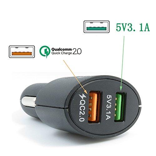 Xingdongchi, carica batterie da auto con tecnologia di ricarica veloce 2.0, 36w, 3porte usb, supporta qc 2.0 20 v/1 a 12 v/1,5 a 9 v/2 a 5 v/2,4 a, per dispositivi apple e android