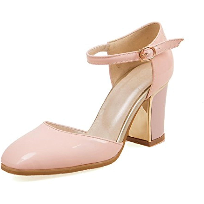 AdeeSu Pour Femme  Square-Toe Ankle-Cuff PU  Femme s Rose, 42 EU, SLC00150 - B01FF09H30 - c5e646