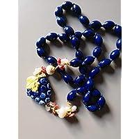 Collana blu con Uva in ceramica di Caltagirone