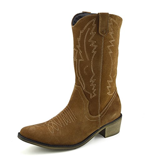 2c0ca9ae856 Kick Footwear Women s Western Leather Cowboy Boots Pointed Toe Ladies Wide  Calf Boots - UK7