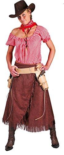 Karneval Klamotten Cowboy Cowgirl Kostüm Damen Frauen Western-Kostüm braun-weiß Rock braun inkl. Bluse rot-weiß kariert Größe 48/50
