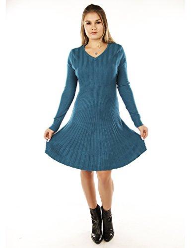 Few24 Strickkleid Herbst Winter Kleid Bequem Warm (S/M (34/36), Beige2)