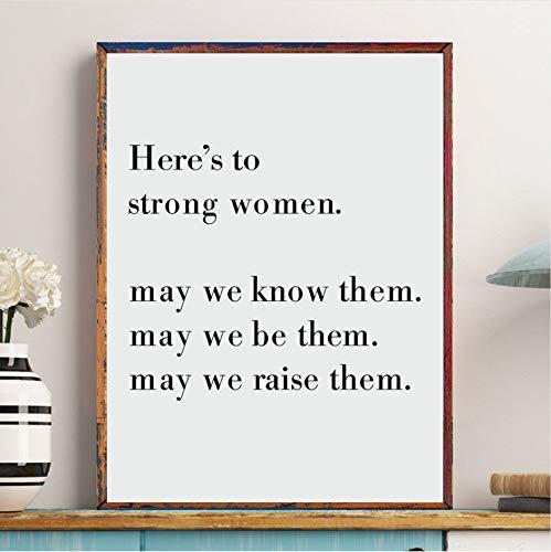 gaowei Girl Feminista Poder Inspirado Cita Lienzo Art Prints y Poster Floral Feminismo Signo Femenino Arte Pintura Niñas Decoración de la habitación 60x80cm Marco