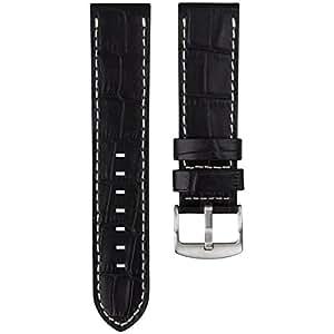 Bracelet de montre Geckota cuir véritable pour les montres U-Boat & Nixon Noir 23mm