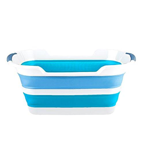 Tivoli Faltbarer Wäschekorb/61 x 38 x 7 cm/Kompaktes Design/Füllmenge: 60 Liter/In Weiß und Blau