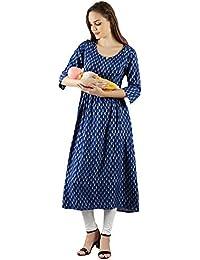 Diya Art Women's Rayon Maternity Dress/A-Line Kurta/Nursing/Easy Feeding Kurti with Zip for Pre and Post Pregnancy (DF12_40, Large, Blue)