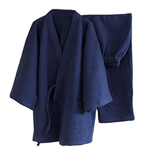 Plus épais Chaud Hiver Pyjama Kimono kostüm vêtements lâches de Style japonais Hommes [Spitze L Navy]
