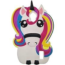 Huawei Y635 Funda, DUGRO Nuevo 3D de Dibujos Animados de Suave Silicona [Diseño más Grueso] Ultra Anti-Choque Teléfono Caso - Rainbow Unicornio