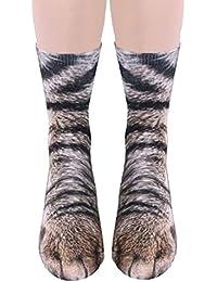 Unisex Adult 3D Print Animal Foot Hoof Paw Print Tube Sock Crew Socks