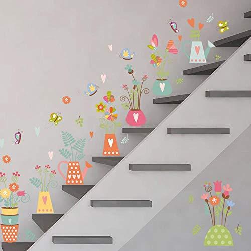 YYT123 Lebendige 3D natürliche Pflanze blumentopf wandaufkleber für kinderzimmer Schmetterling Fenster Wand Art Deco Applikation 75 * 82 cm DIY PVC Poster
