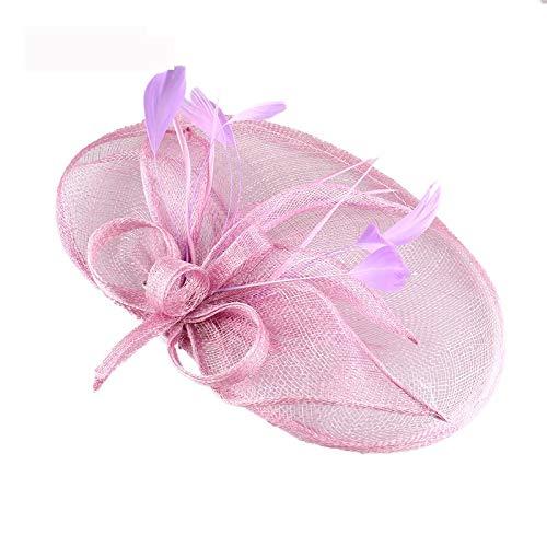 SweetStyle Zylinderhut Hanf Garn Abdeckung Jockey Cocktail Party jährliche Treffen Headwear Cheongsam Zubehör, hell lila