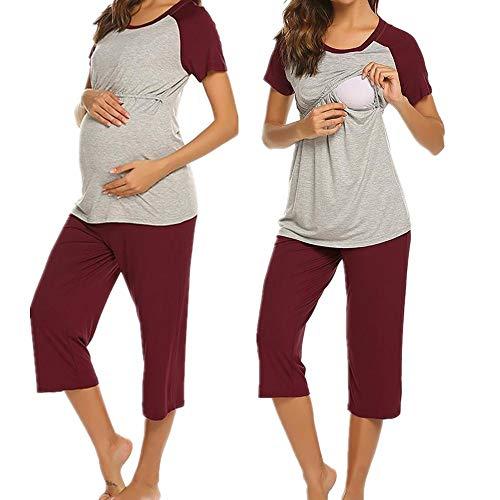 76317e23e8 UNibelle Damen Schlafanzug/Pyjama für Schwangerschaft und Stillzeit  Umstandspyjama Kurzarm mit Baumwolle weinrot L