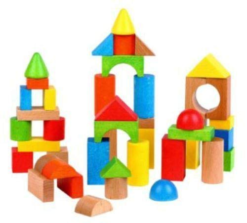LELIN 100 Blocks Wooden Building Blocks Toy Tub For Children Kids 12 Months +