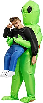 Aiwanto Inflatable Alien Costume Party Fancy Dress Cosplay Outfit Green Alien Carrying Human Costume Inflatabl