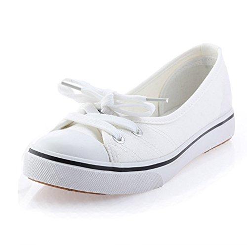Minetom donne ragazze moda punta rotonda scarpe di tela tallone piano espadrillas loafer scarpe bianco 36