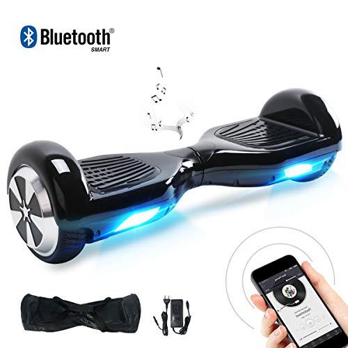 BEBK Hoverboard Smart Self Balance Scooter con Bluetooth,Overboard con LED Autobilanciato Scooter Certificazione UL 2272,2 * 350W Motore (Black-BL)