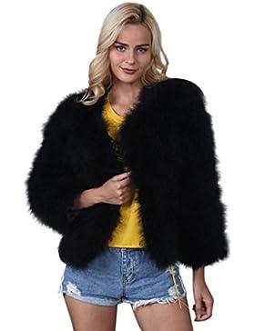 KaloryWee Abrigo de Piel Sintética de Piel de Avestruz Suave de Piel Suave y Esponjosa Xmax - Abrigo para Mujer