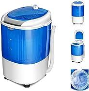 COSTWAY Mini Machine à Laver avec Essoreuse à Cuve Unique 2,5 KG Portable Semi Automatique avec Fonction de Ch