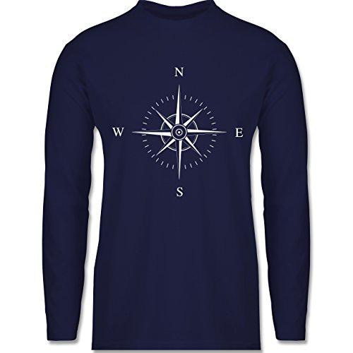 Shirtracer Statement Shirts - Kompassrose - Herren Langarmshirt Navy Blau