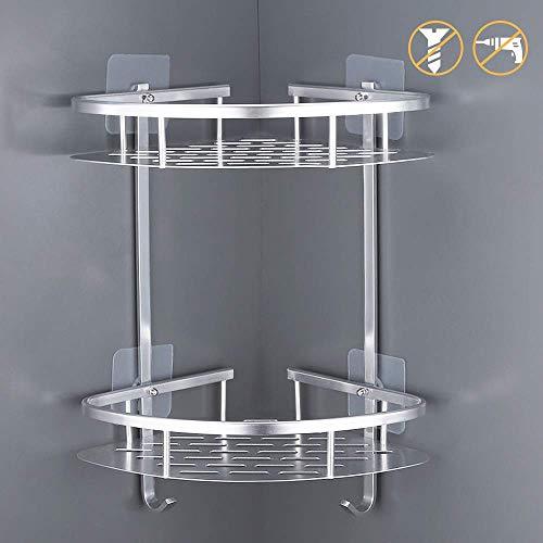 2 livelli alluminio mensola adesiva bagno doccia rack con gancio appendente per shampoo,mensola bagno no viti (due strati di argento)